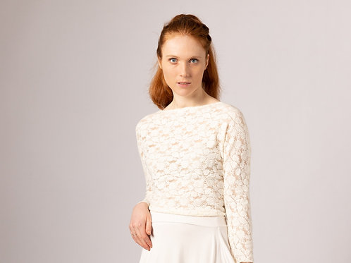 sustainable UK handmade long sleeve stretch lace bridal top