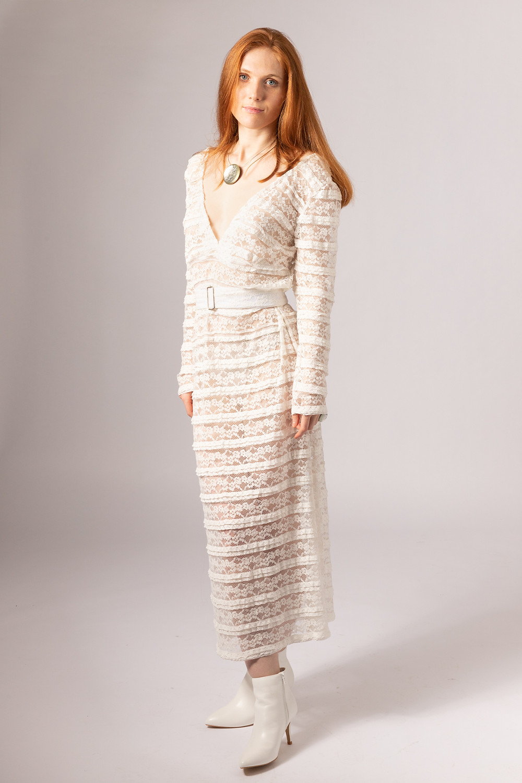 long sleeve see through lace wedding dress