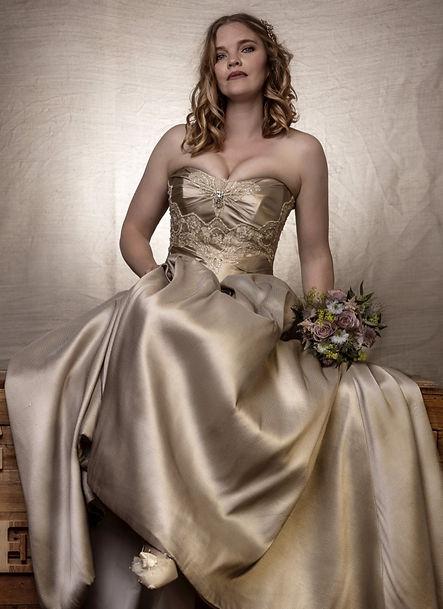 Strapless beaded oyster wedding dress