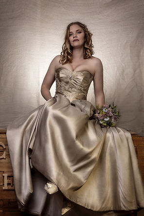 Strapless ethically made in the UK non white wedding dress