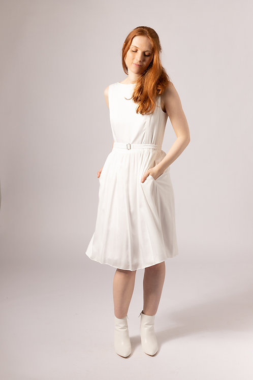 Hand made in the UK vegan silk bridal dress with pockets and belt, knee length