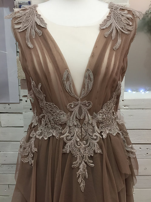 cocoa couture layered brown occasion long dress