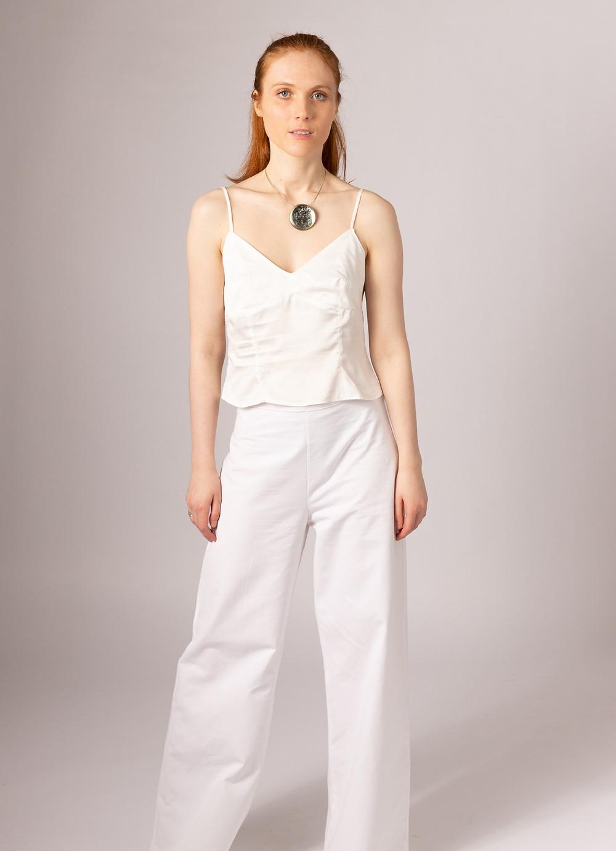 Vegan silk bridal vest top and organic cotton bridal trousers