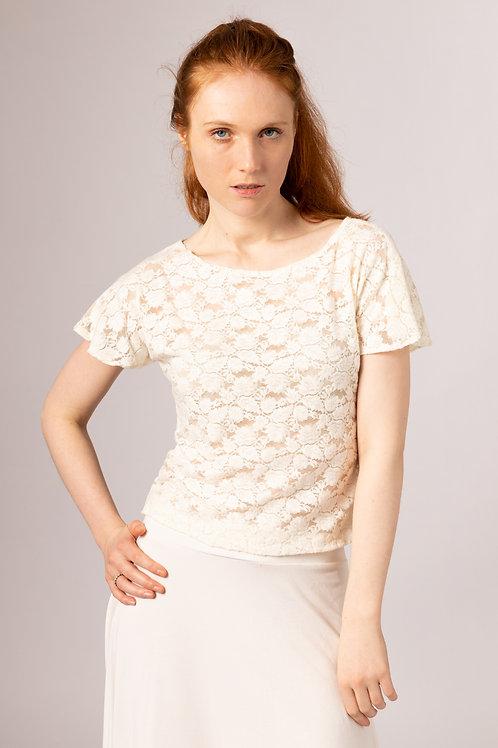 sustainable UK handmade short sleeve lace bridal top