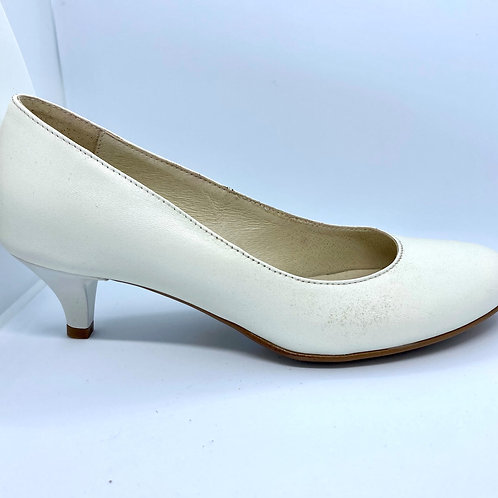 ivory low heel leather bridal shoes