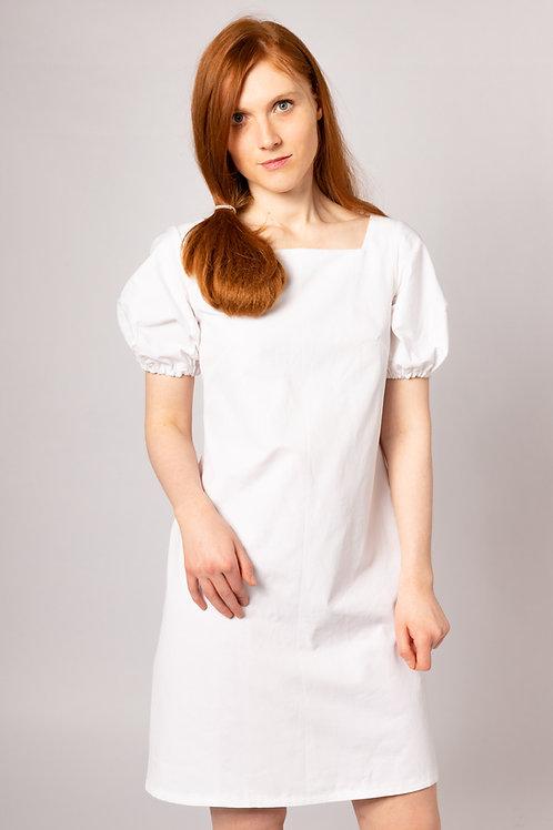 white organic cotton knee length puff sleeve UK handmade bridal dress for small intimate wedding, beach wedding or elopement