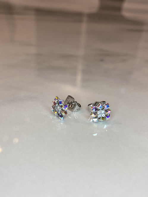 Tiny Delicate AB Sparkle Square Earrings