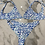 Thumbnail: White with Deep Blue & Aqua Print Bikini with Sparkle Detail