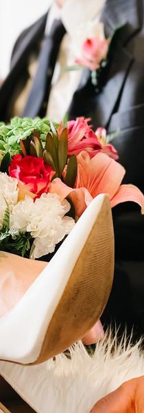 Bridal bouquet, shoes up wedding