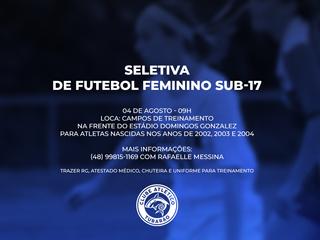 Seletiva para futebol feminino sub-17