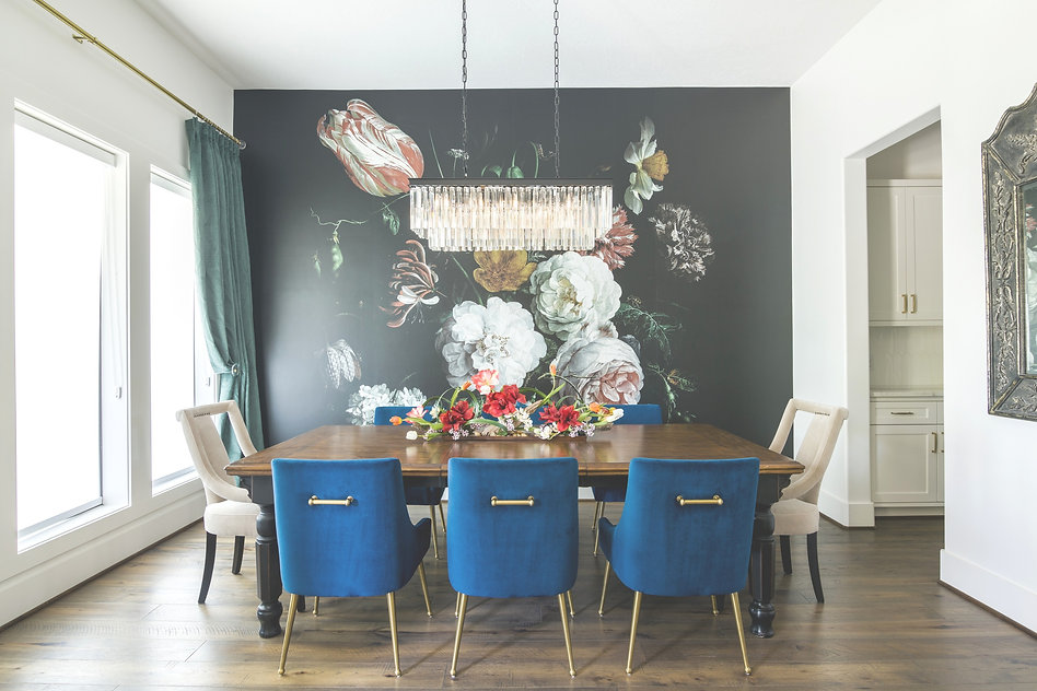 Houston interior designer. Interior designer in houstonDining Room with floral mural accent wall. houston dining room, interior design services, austin designer, san antonio design, interior decorator, design services, designer for home, home design, texas interior designer near me