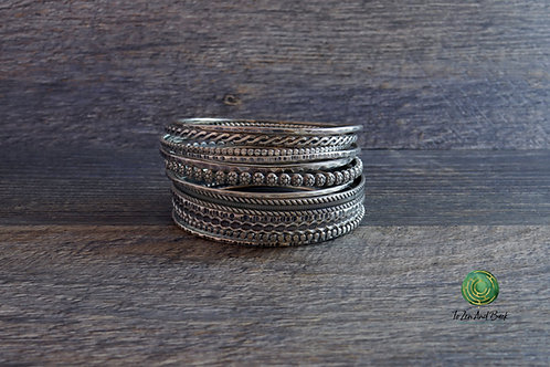 Patinaed Sterling Silver Stacking Bangles
