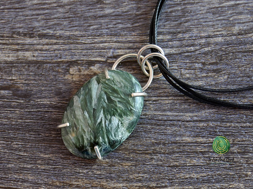 Seraphanite and Sterling Silver Pendant Necklace