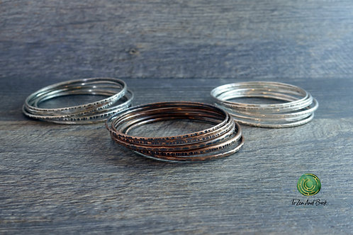 Set of 6 Stacking Bangles in Mixed Widths