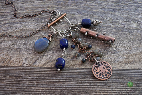 Lapis Lazuli and Labradorite Mixed Metal Charm Necklace Adjustable Length