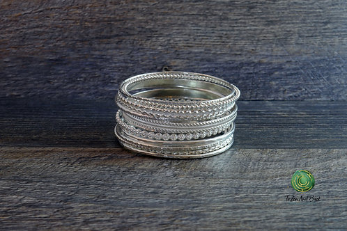 Shiny Sterling Silver Stacking Bangles