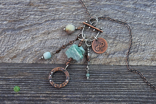 Amazonite Mixed Metal Charm Necklace Adjustable Length