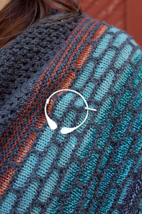 Sterling Silver Hammered Shawl Pin