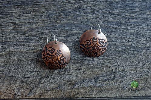Damask Mandala Copper Circle Earrings in 2 Sizes