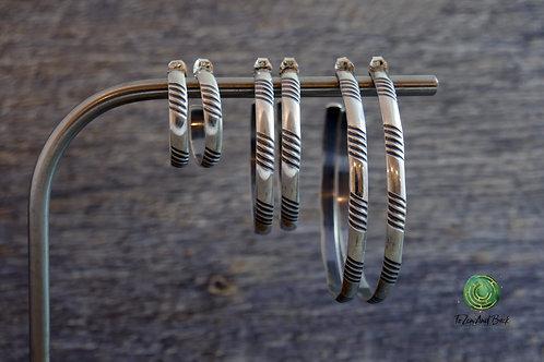 Sterling Silver Grooved Hoop Earrings