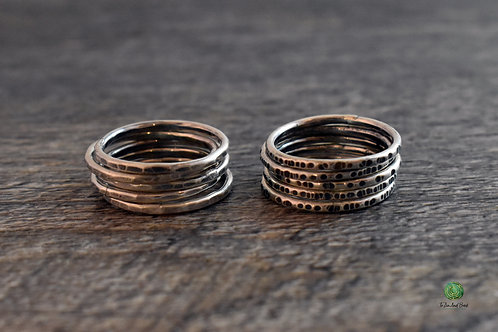 Patinaed Sterling Silver Stacking Ring Set of 5