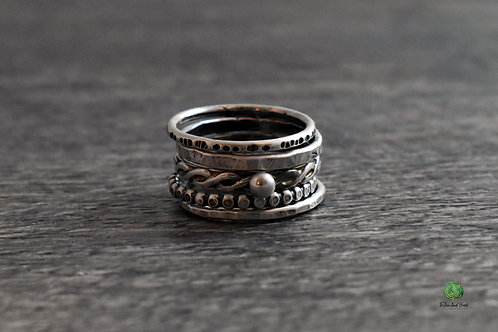 Patinaed Mix and Match Stacking Rings