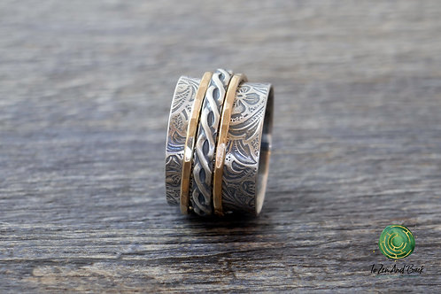 Floral Embossed Spinner Ring with Braid & 2 Narrow Spinners