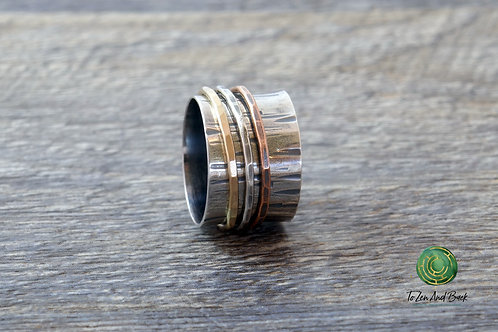 Birch Bark Spinner Ring with 3 Narrow Spinners