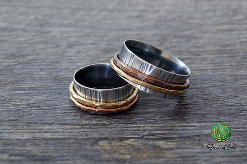 Narrow Birch Bark Spinner Ring with 2 Spinners