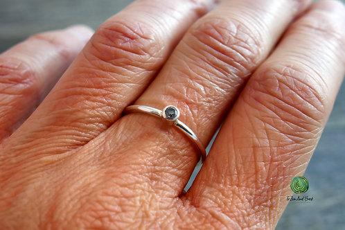 March Birthstone Aquamarine Stacking Ring