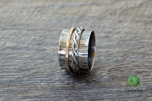 Birch Bark Spinner Ring with Narrow & Braid Spinner