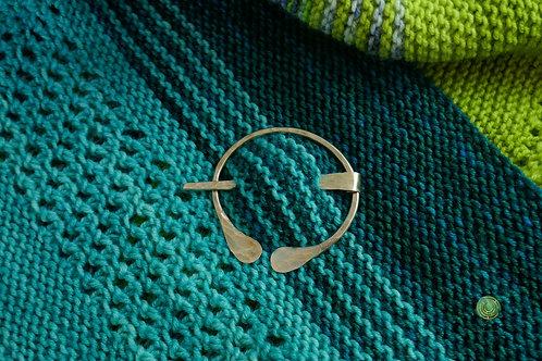Brass Hammered Shawl Pin