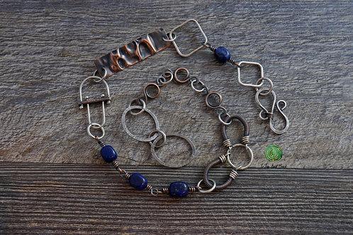 Short Mixed Metal Lapis Lazuli Necklace