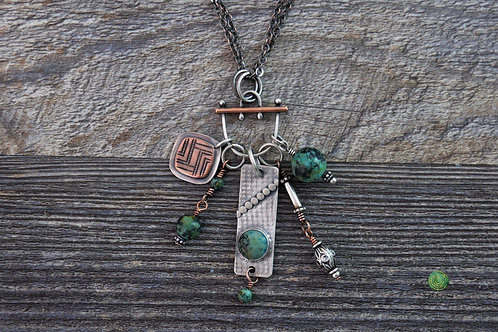 African Turquoise Mixed Metal Charm Necklace Adjustable Length