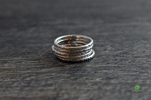 Shiny Sterling Silver Stacking Ring Set of 5
