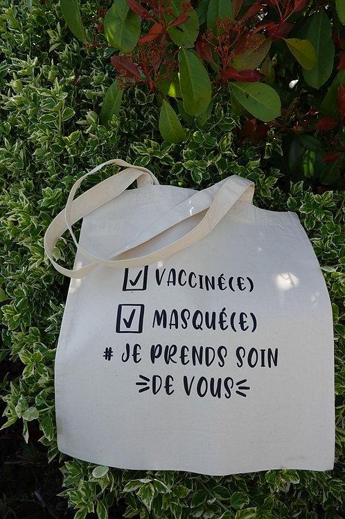 Tote bag en coton biologique, vacciné et masqué