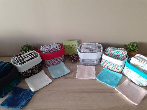 Lingettes démaquillantes lavables et leur panier coordonné,motifs au choix