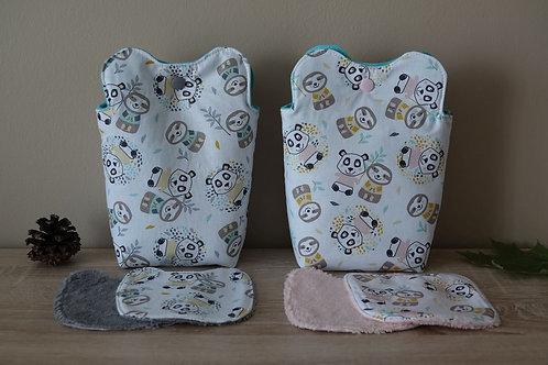 Lot de 12 lingettes lavables forme de panda et leur panier coordonné
