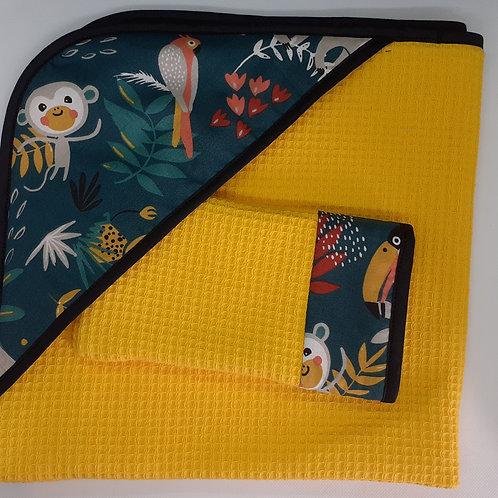 Kit naissance cape de bain + gant de toilette