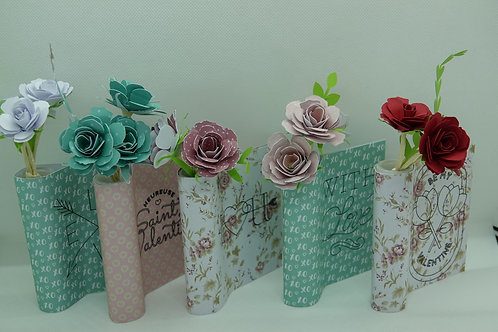 Soliflore et ses 3 fleurs en papier