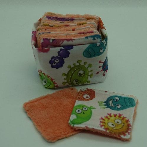 Lingettes lavables petit format motif virus