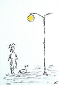 Lady, dog & street light