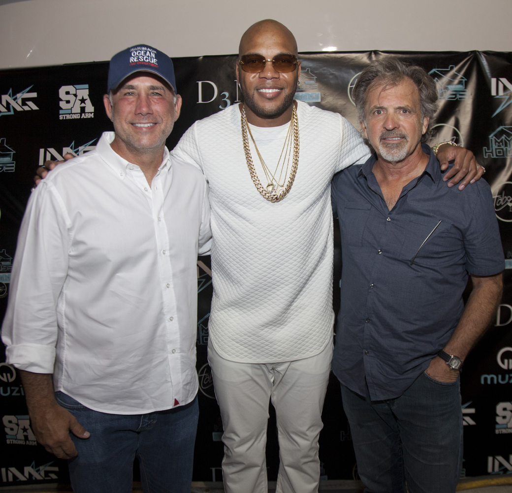 Miami Beach Mayor Phillip Levine and Bruce Orosz from ACT Productions with Flo Rida at My House Albu