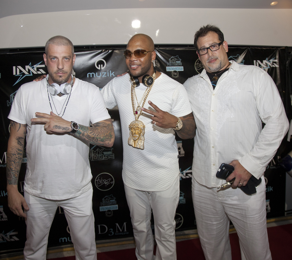 Muzik CEO Jason Hardi and D3M's David Gold with Flo Rida at  My House Album Launch Party - Miami Bea