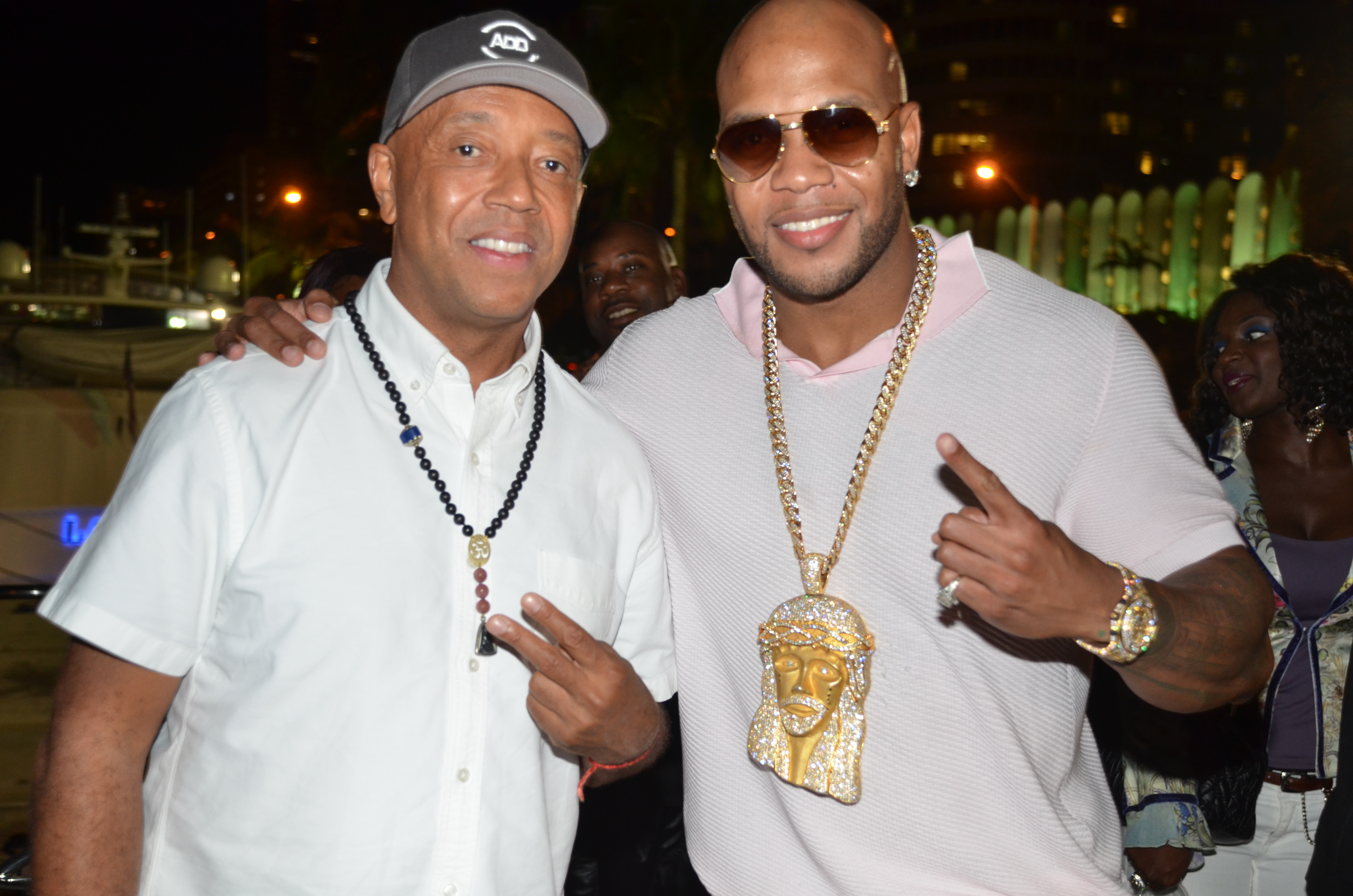 Russell Simmons and Flo Rida at Revolt Music Conference Yacht Party