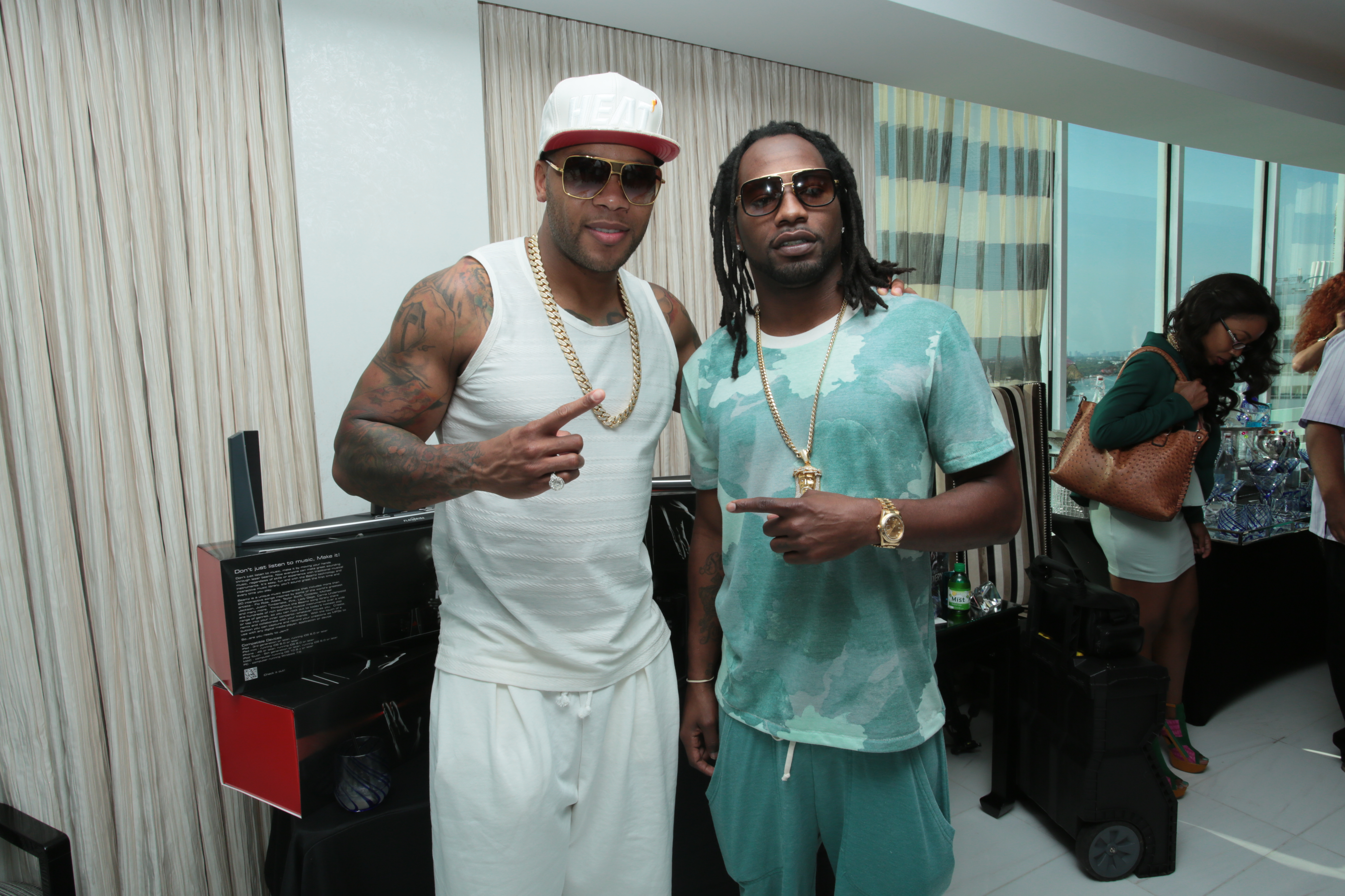 Flo Rida and Asante Samuel at Flo Rida Gifting Suite - Fontainebleau - Miami
