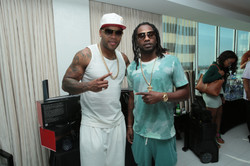 Flo Rida and Asante Samuel at Flo Rida Gifting Suite - Fontainebleau - Miami
