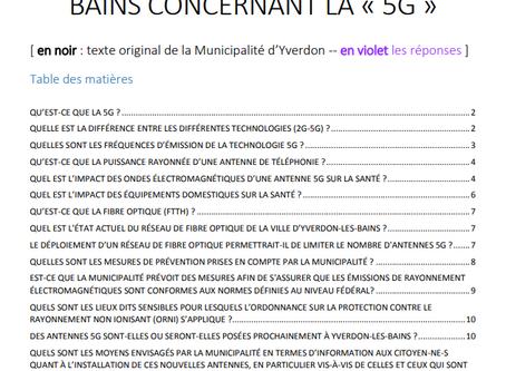 Réponse à la municipalité d'Yverdon concernant la 5G