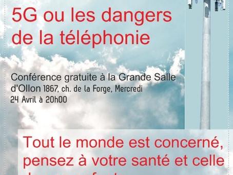 Conférence Electrosmog et 5G à OLLON le 24.04