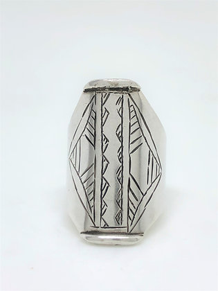 Etched Cigar Band Ring .925